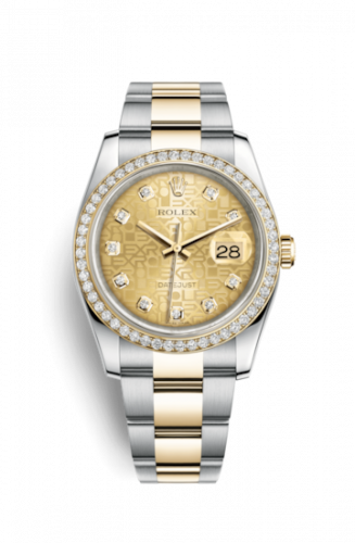 Rolex 116243-0029 : Datejust 36 Rolesor Yellow Diamond / Oyster / Champagne Computer