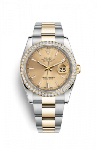 Rolex 116243-0030 : Datejust 36 Rolesor Yellow Diamond / Oyster / Champagne