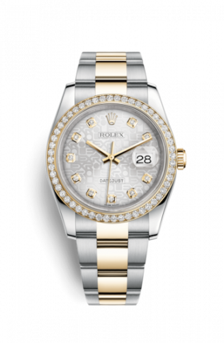 Rolex 116243-0035 : Datejust 36 Rolesor Yellow Diamond / Oyster / Silver Computer