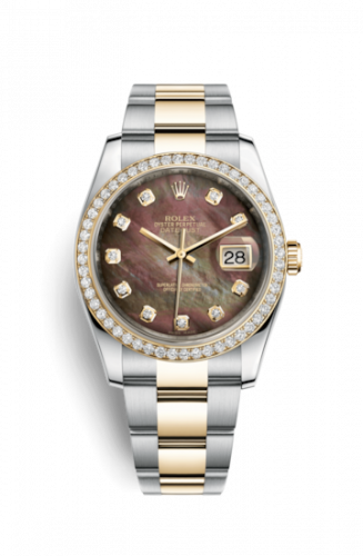 Rolex 116243-0037 : Datejust 36 Rolesor Yellow Diamond / Oyster / Black MOP