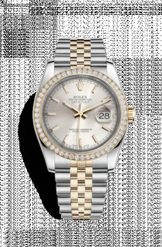 Rolex 116243-0061 : Datejust 36 Rolesor Yellow Diamond / Jubilee / Silver