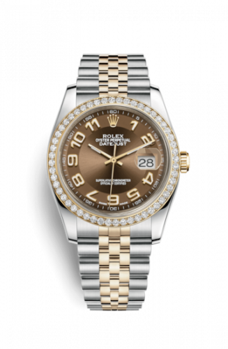 Rolex 116243-0075 : Datejust 36 Rolesor Yellow Diamond / Jubilee / Bronze Arabic