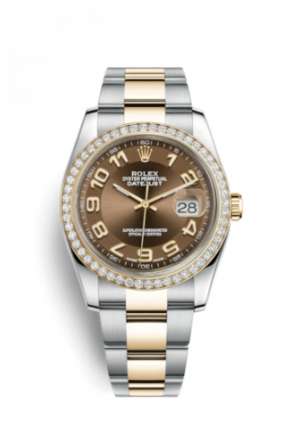 Rolex 116243-0076 : Datejust 36 Rolesor Yellow Diamond / Oyster / Bronze Arabic