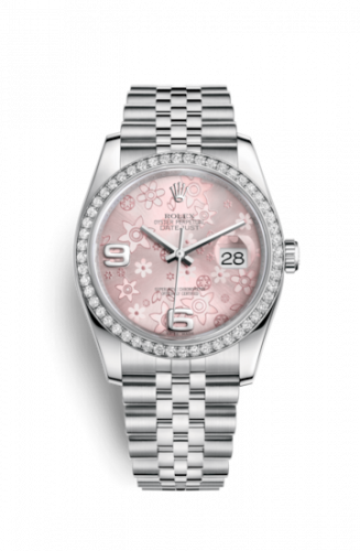 Rolex 116244-0004 : Datejust 36 Stainless Steel Diamond / Jubilee / Pink Floral