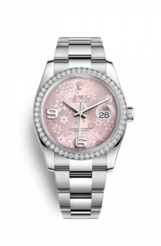 Rolex 116244-0007 : Datejust 36 Stainless Steel Diamond / Oyster / Pink Floral