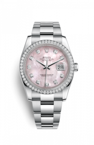 Rolex 116244-0018 : Datejust 36 Stainless Steel Diamond / Oyster / Pink MOP