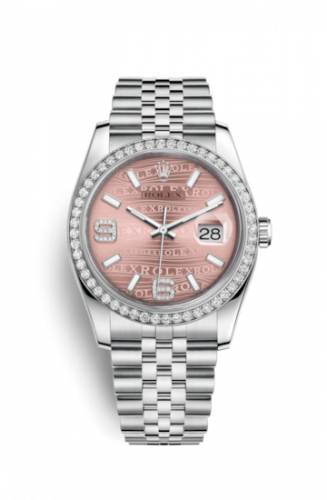 Rolex 116244-0036 : Datejust 36 Stainless Steel Diamond / Jubilee / Pink Wave