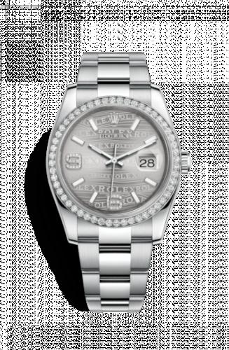 Rolex 116244-0038 : Datejust 36 Stainless Steel Diamond/ Oyster / Rhodium Wave