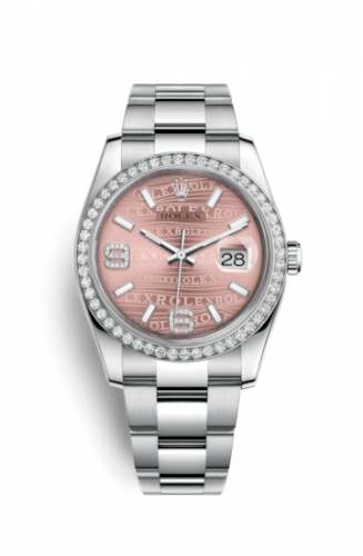 Rolex 116244-0039 : Datejust 36 Stainless Steel Diamond / Oyster / Pink Wave