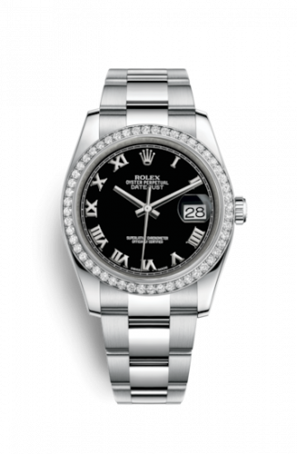 Rolex 116244-0040 : Datejust 36 Stainless Steel Diamond / Oyster / Black Roman