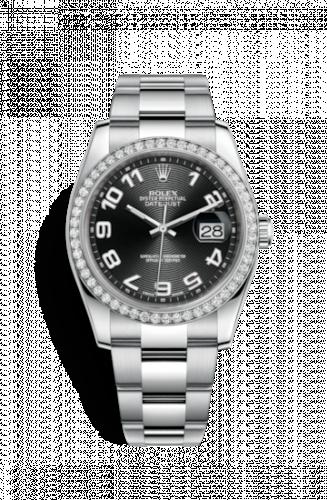 Rolex 116244-0042 : Datejust 36 Stainless Steel Diamond / Oyster / Black Arabic