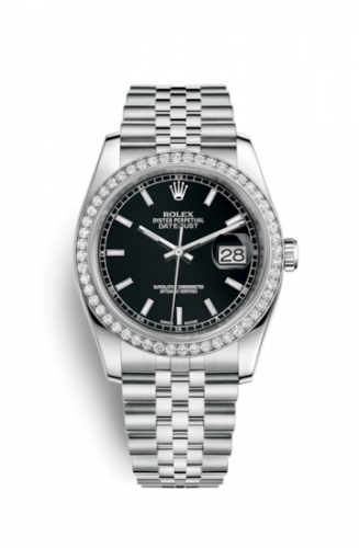 Rolex 116244-0043 : Datejust 36 Stainless Steel Diamond / Jubilee / Black