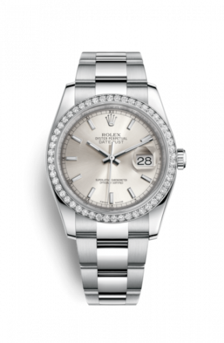 Rolex 116244-0051 : Datejust 36 Stainless Steel Diamond / Oyster / Silver