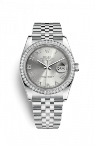 Rolex 116244-0055 : Datejust 36 Stainless Steel Diamond / Jubilee / Rhodium Roman