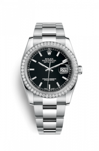 Rolex 116244-0060 : Datejust 36 Stainless Steel Diamond / Oyster / Black