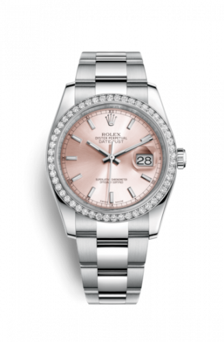Rolex 116244-0061 : Datejust 36 Stainless Steel Diamond / Oyster / Pink
