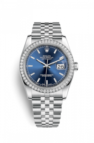 Rolex 116244-0063 : Datejust 36 Stainless Steel Diamond / Jubilee / Blue