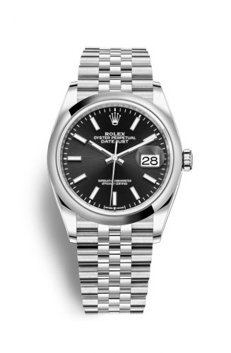 Rolex 126200-0003 : Datejust 36 Stainless Steel / Domed / Black / Jubilee