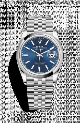 Rolex 126200-0005 : Datejust 36 Stainless Steel / Domed / Blue / Jubilee