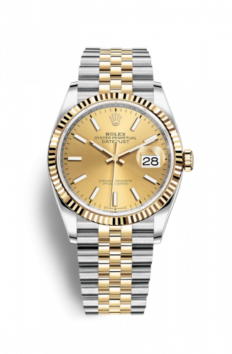 126233-0015 : Rolex Datejust 36 Stainless Steel / Yellow Gold / Fluted / Champagne / Jubilee