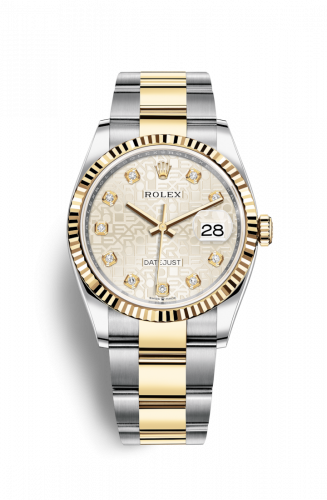 126233-0028 : Rolex Datejust 36 Stainless Steel / Yellow Gold / Fluted / Silver Computer / Oyster