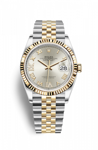 126233-0031 : Rolex Datejust 36 Stainless Steel / Yellow Gold / Fluted / Silver Roman / Jubilee
