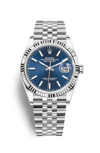 Rolex 126234-0017 : Datejust 36 Stainless Steel / Fluted / Blue / Jubilee