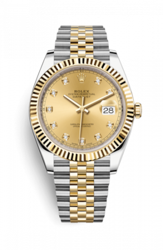 Rolex 126333-0012 : Datejust 41 Rolesor Yellow Fluted / Jubilee / Champagne - Diamond