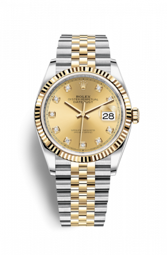 126233-0017 : Rolex Datejust 36 Stainless Steel / Yellow Gold / Fluted / Champagne Diamond / Jubilee