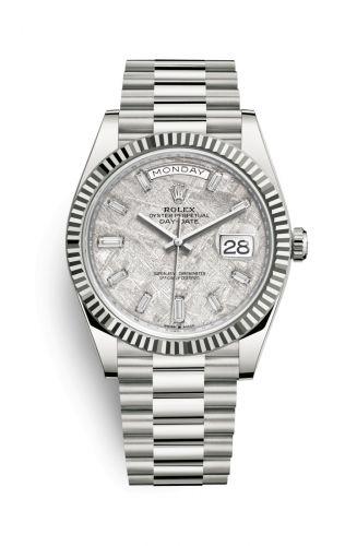 Rolex 228239-0055 : Day-Date 40 White Gold / Meteorite - Baquette