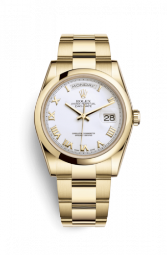 Rolex 118208-0087 : Day-Date 36 Yellow Gold Domed / Oyster / White Roman
