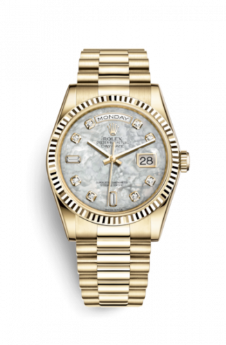 Rolex 118238-0115 : Day-Date 36 Yellow Gold Fluted / President / MOP