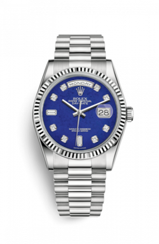 Rolex 118239-0276 : Day-Date 36 White Gold Fluted / President / Lapis Lazuli