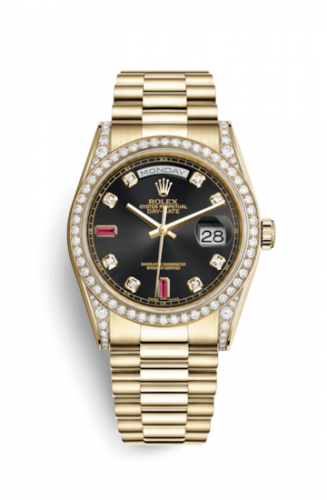 118388-0124 : Rolex Day-Date 36 Yellow Gold Diamonds  / President / Black Diamonds Rubies
