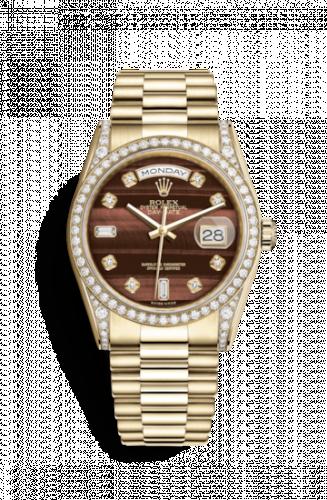 Rolex 118388-0129 : Day-Date 36 Yellow Gold Diamonds / President / Bull's Eye
