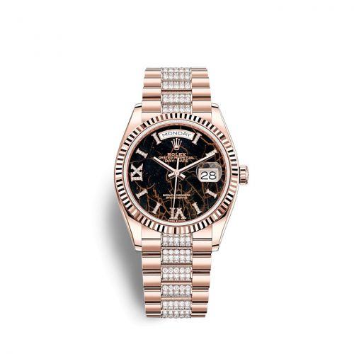 Rolex 128235-0042 : Day-Date 36 Everose Gold / Fluted / Eisenkiesel / President-Diamond