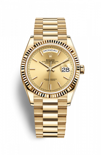 128238-0045 : Rolex Day-Date 36 Yellow Gold / Fluted / Champagne / President