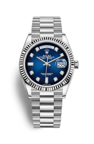 Rolex 128239-0023 : Day-Date 36 White Gold / Fluted / Blue Ombré-Diamond / President