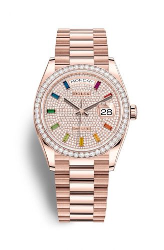 Rolex 128345RBR-0042 : Day-Date 36 Everose Gold / Diamond / Paved-Rainbow / President