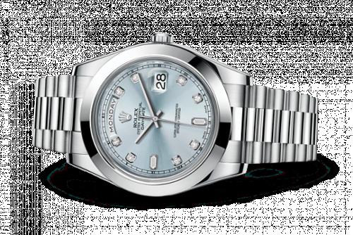 Rolex 218206-0009 : Day-Date II Platinum Silver Diamonds
