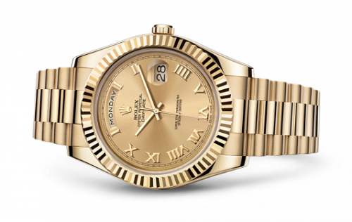 Rolex 218238-0038 : Day-Date II Yellow Gold Fluted Champagne Roman
