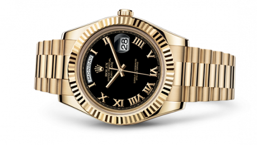 218238-0041 : Rolex Day-Date II Yellow Gold Fluted Black Roman