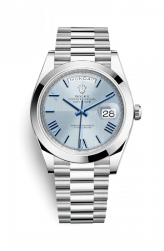 Rolex 228206-0001 : Day-Date 40 Platinum / Ice Blue Quadrant Motif