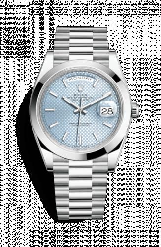 Rolex 228206-0004 : Day-Date 40 Platinum / Ice Blue Diagonal Motif