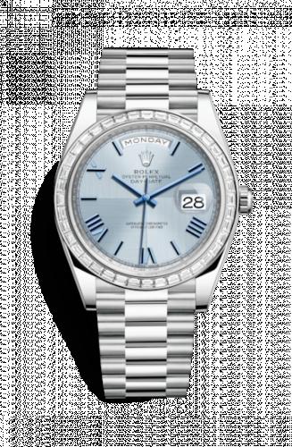 228396tbr-0004 : Rolex Day-Date 40 Platinum Baguette / Ice Blue Quadrant