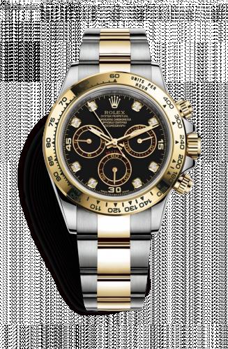 Rolex 116503-0008 : Cosmograph Daytona Stainless Steel / Yellow Gold / Black Diamond
