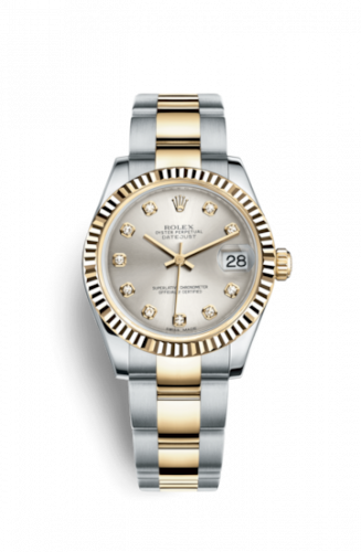 178273-0040 : Rolex Datejust 31 Rolesor Yellow Fluted / Oyster / Silver Diamond