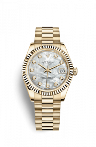Rolex 178278-0010 : Datejust 31 Yellow Gold Fluted / President / MOP