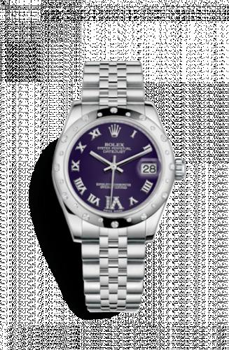 Rolex 178344-0002 : Datejust 31 Stainless Steel Domed Diamond / Jubilee / Purple - Roman