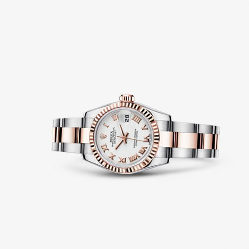 179171-0073 : Rolex Lady-Datejust 26 Rolesor Everose Fluted White Oyster
